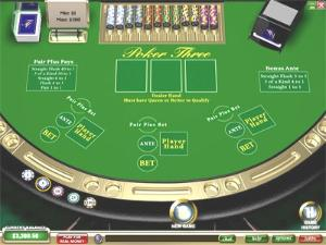 Online 3 card poker table screen image